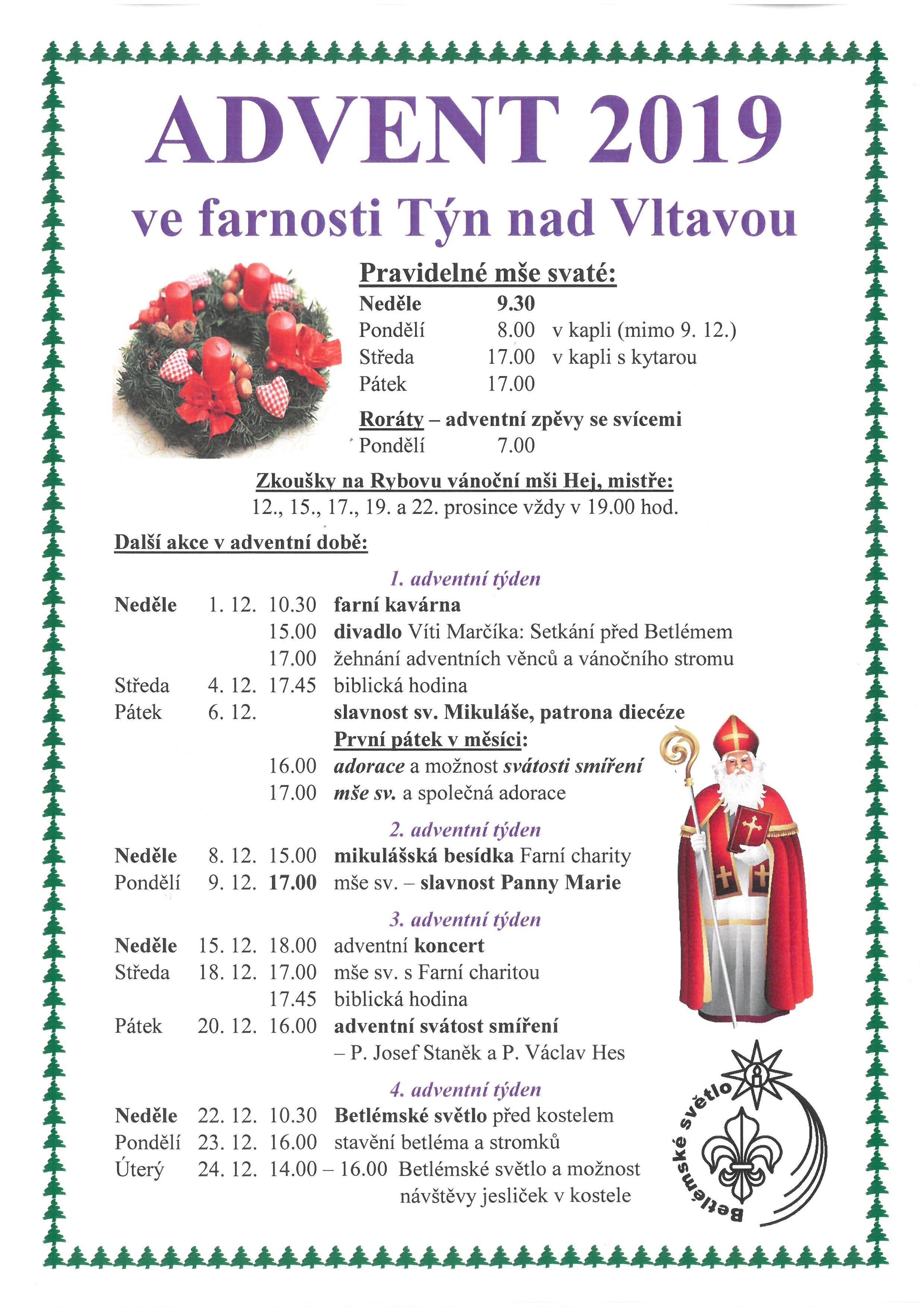 Advent 2019 ve farnosti Týn nad Vltavou