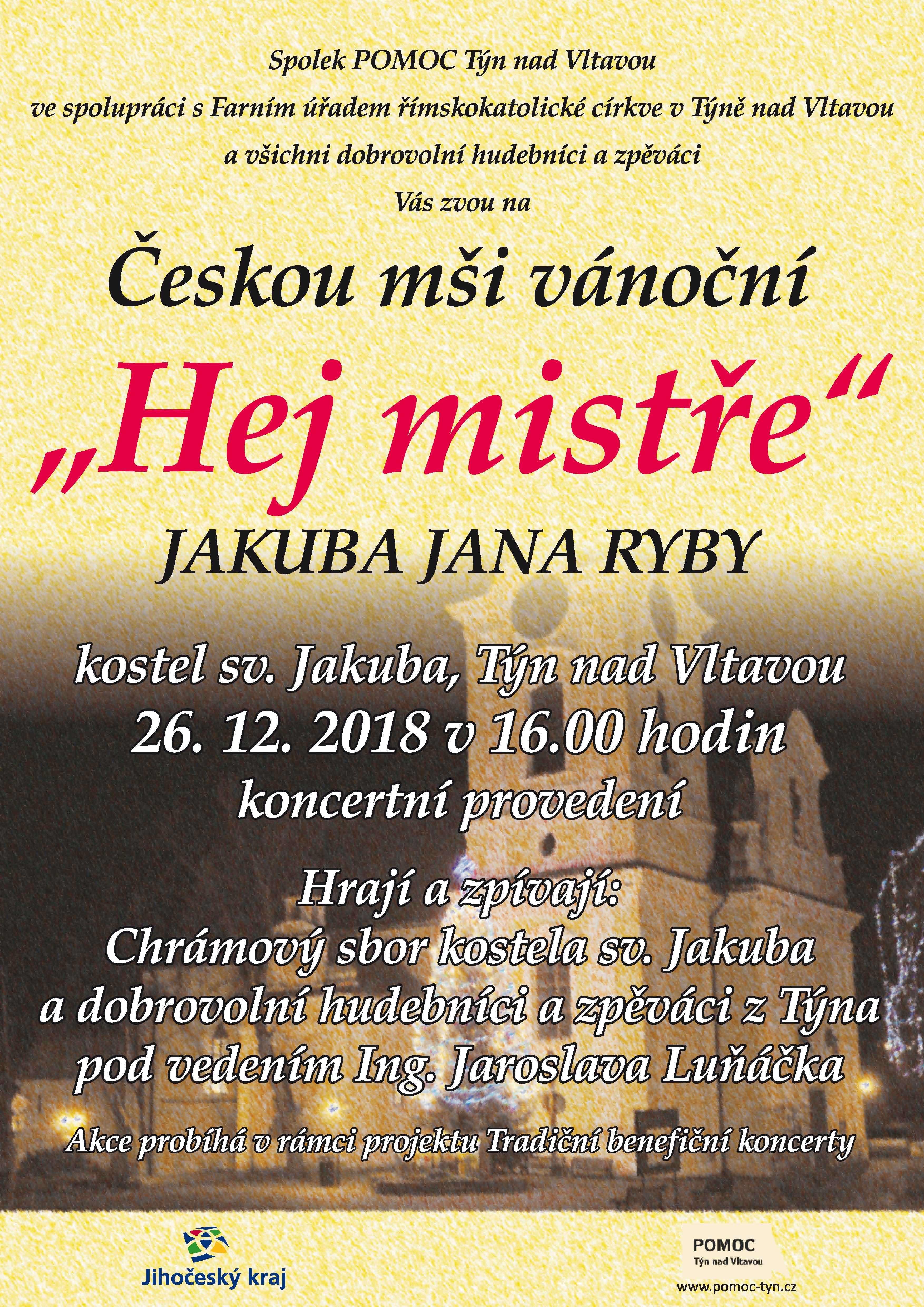 """Česká mše vánoční  """"Hej mistře"""" Jakuba Jana Ryby"""