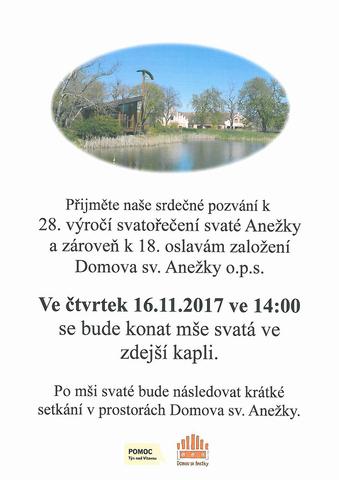 Výročí svatořečení svaté Anežky a založení Domova sv. Anežky